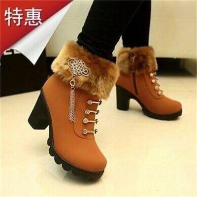 女士靴子高跟女鞋雪地靴马丁靴女鞋冬季毛毛粗跟短靴女靴加绒棉鞋