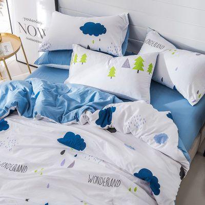 裸睡水洗棉四件套床单被套...床上用品学生宿舍单人
