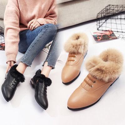 真毛2018冬季新款毛毛鞋女豆豆鞋百搭尖头中跟粗跟加绒韩版棉单鞋