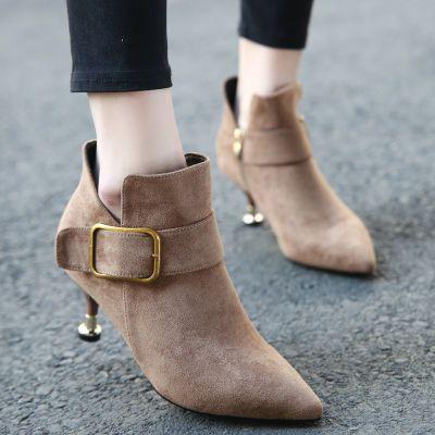欧美新款马丁靴皮带扣绒面尖头英伦风磨砂百搭细跟高跟短靴女鞋