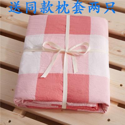 ins裸睡水洗棉床单单件双人单人学生宿舍床上用品床单三件套