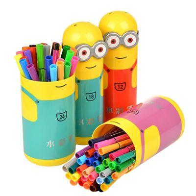 12色36色水彩笔画画笔小黄人水彩笔儿童学习绘画宝宝学画画彩色笔