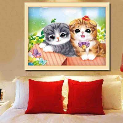 百鹊新款画点钻十字绣卧室儿童房可爱小猫咪绣