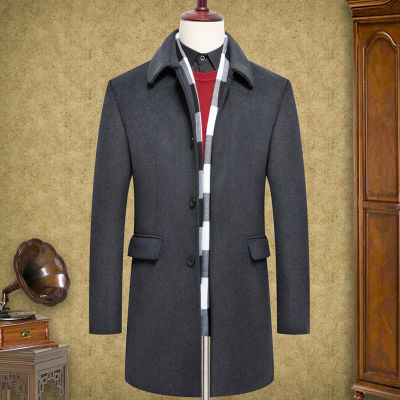 中年羊毛呢大衣男士秋冬季中长款中老年翻领休闲风衣加棉加厚外套