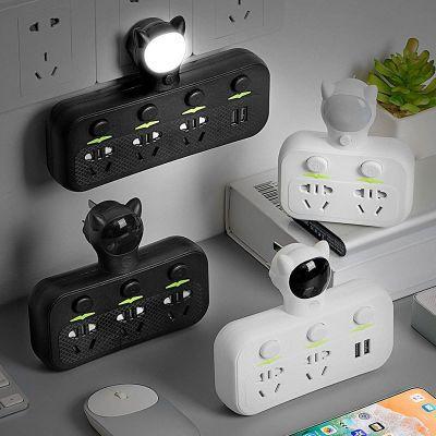 家安美一转多插座USB防雷开关小夜灯无线多功能扩展电源转换器