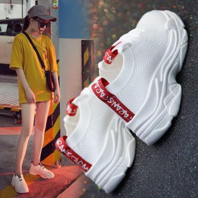 夏季运动鞋女2018新款女鞋透气网面原宿镂空百搭轻便飞织鞋跑步鞋