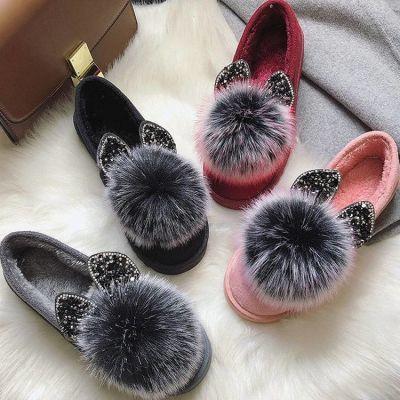 韩版圆头单鞋女2018秋季浅口外穿毛毛鞋中跟毛球粗跟绒面豆豆鞋女