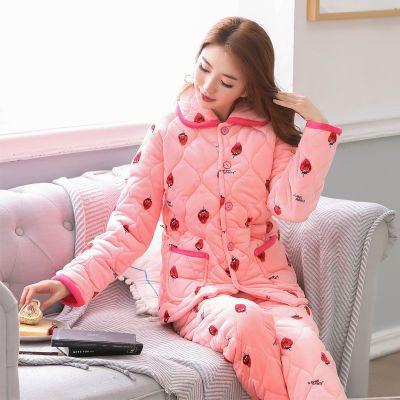 睡衣女冬季新品珊瑚绒三层加厚夹棉袄法兰绒套装加绒家居服卡通