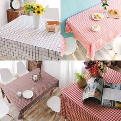 抖音同款粉色仿棉麻桌布ins布艺格子田园小清新茶几台圆方餐书桌