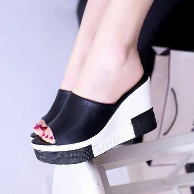 低跟凉鞋女透明鞋拖女款学生韩版时尚高跟鞋原宿风拖鞋字拖女夏天