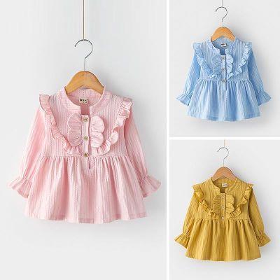 女童秋装长袖上衣2018新款女宝宝木耳边立领衬衣娃娃衫儿童套头衫