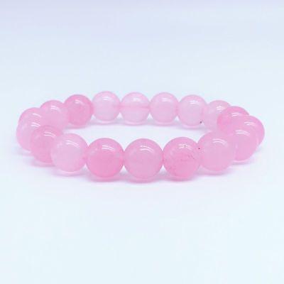 天然马来玉粉色石手链手串女款水晶手链