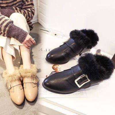 真兔毛马丁靴毛毛鞋女冬季2018新款韩版百搭中跟平底加绒粗跟瓢鞋
