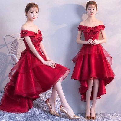 敬酒服孕妇2018新款秋冬季一字肩红色大码新娘高腰回门礼服短款女