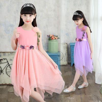 公主裙学生酷女孩女童连衣裙少女连衣裙礼服裙大童套装女露背裙子