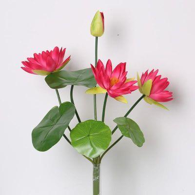 仿真花单支小莲花室内鱼缸假花把束花睡莲花佛台插花装饰人造绢花
