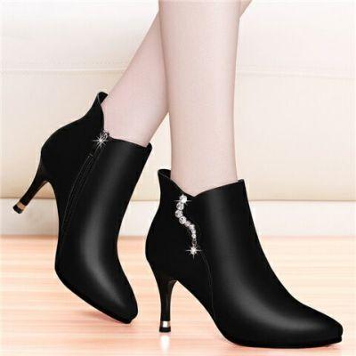 新款单鞋女靴高跟鞋防水台细跟女士皮鞋尖头短靴中跟冬鞋