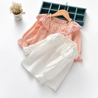 女童装上衣 春秋季潮宝宝儿童t恤吊带蕾丝花朵刺绣娃娃衫公主裙衫