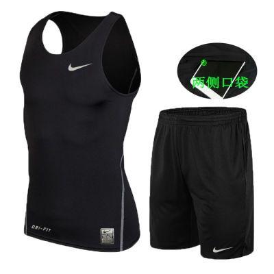健身服男运动背心短裤套装夏无袖速干排汗篮球服紧身衣跑步健身房