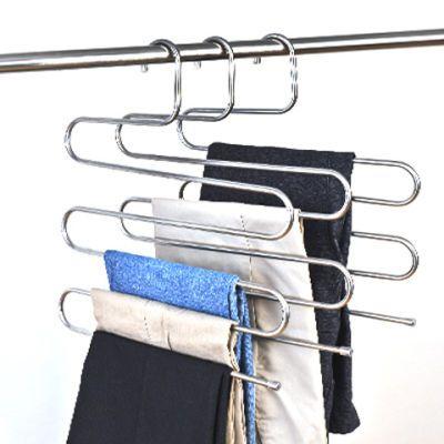 【买二送一】不锈钢多功能魔术S型多层裤架加厚加粗衣架家居裤架