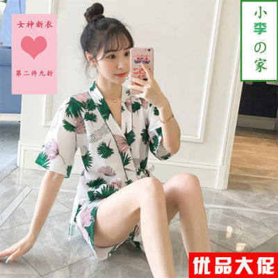 日系和服睡衣女夏季短袖裤学生韩版宽松薄款家居服两件套装可外穿