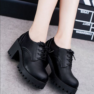 春秋新款韩版厚底粗跟中跟单鞋女高跟鞋防水台学生女鞋黑色小皮鞋