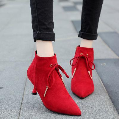 2018冬季新款女靴子水钻短筒高跟鞋欧美绒面细跟裸靴气质时尚短靴