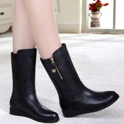大码中筒靴冬季新款平底低跟短靴棉鞋女靴子圆头马丁靴雪地靴女鞋