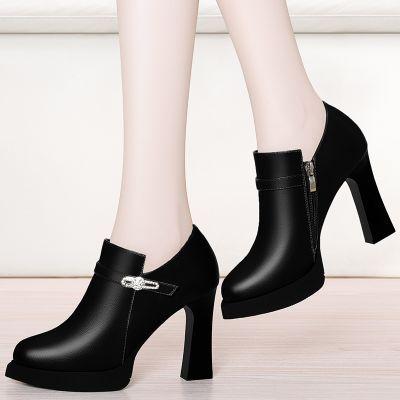 高跟单鞋女秋冬欧美女鞋女士皮鞋水钻防水台厚底粗跟高跟鞋潮