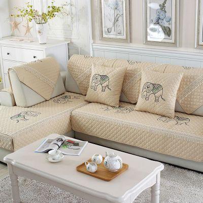 全棉四季透气沙发垫通用布艺防滑简约现代套全包坐垫欧式靠背全盖