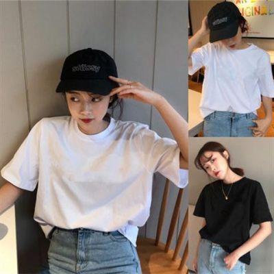 白色短袖t恤女夏修身圆领黑色体恤短款半袖女t��纯色打底衫女上衣
