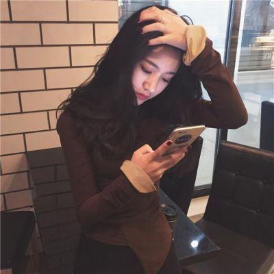 秋装新款韩版上衣女纯色T恤修身显瘦长袖复古百搭荷叶袖打底衫潮