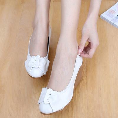 春夏季坡跟单鞋浅口白色皮鞋女高跟鞋护士工作鞋小白鞋妈妈鞋