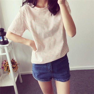 T恤女夏新款条纹短袖体恤韩范学生大码修身半袖宽松显瘦t��上衣服