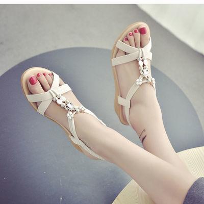 香香莉女鞋平底鞋子女生韩版时尚凉鞋女低跟女鞋便利贴韩版高跟少
