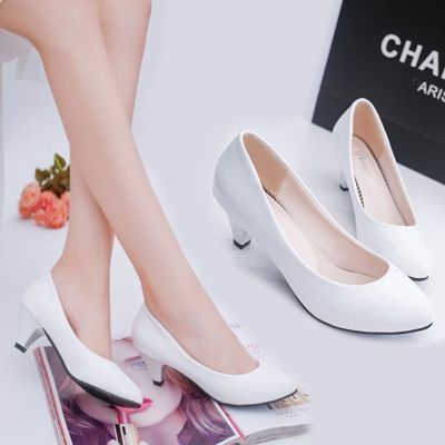 YY女鞋新款春夏季百搭单鞋女职业黑白色工作高跟中跟漆皮女士皮鞋