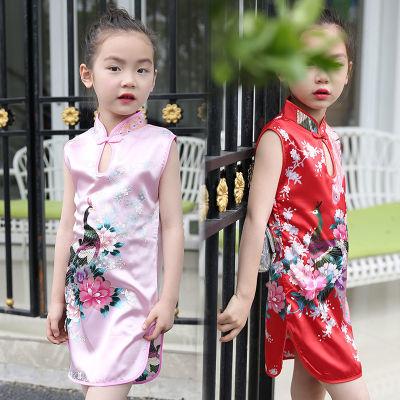 大童冬裙夏季儿童套装女民族风套装女旗袍裙子儿童短袖袍女新年童