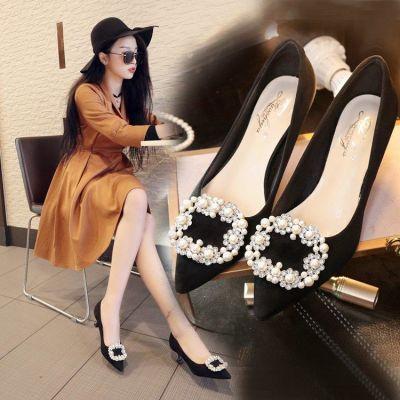 春秋新款百搭时尚细跟黑色女士职业单鞋中跟水钻尖头高跟鞋