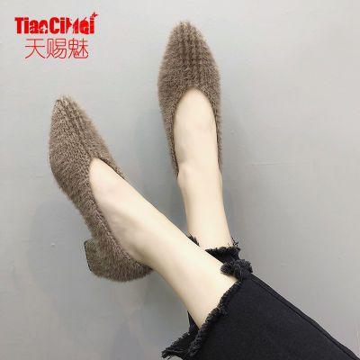 2018秋新款欧美绒面女单鞋中跟粗跟毛毛鞋一脚蹬中口尖头女鞋