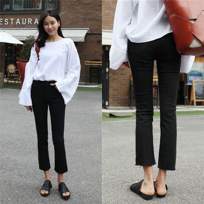 韩国秋季新款韩版高腰微喇叭黑色牛仔裤女九分显瘦流苏阔腿裤子潮