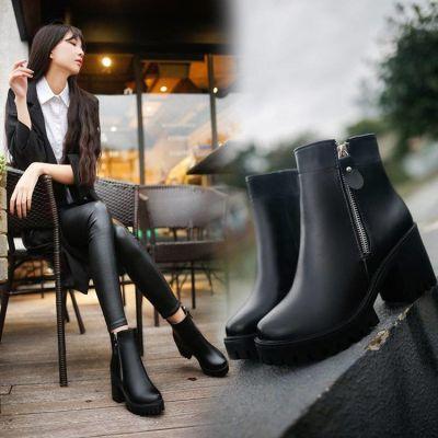 2018新款冬季高跟鞋女裸靴加绒马丁靴女英伦风单靴防水台粗跟短靴