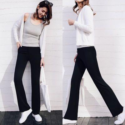 薄款黑色裤子女秋季微喇叭裤高腰韩版宽松学生加长休闲裤显瘦长裤