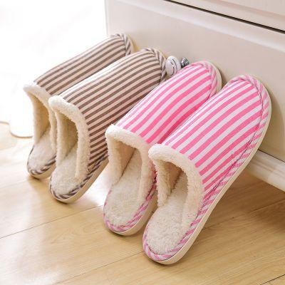 冬季棉拖男女情侣拖鞋条纹家居棉拖保暖橡胶居家室内套趾毛绒拖鞋