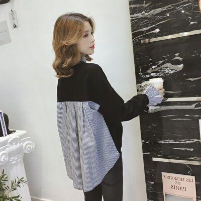 早秋2018新款韩版条纹衬衫拼接喇叭袖黑色卫衣女学生宽?#23578;?#38386;上衣