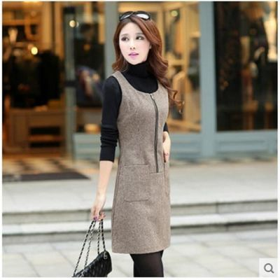 秋冬新款时尚韩版连衣裙无袖毛呢背心裙打底裙