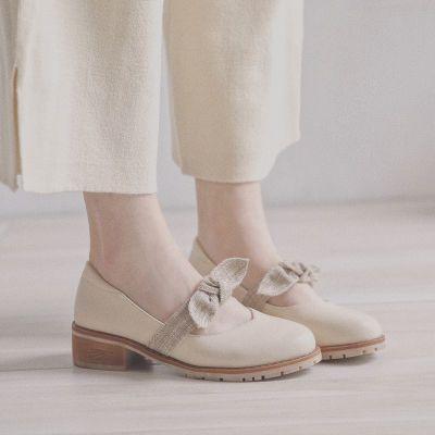 玛丽珍鞋粗跟单鞋女2018秋季新款韩版学生小皮鞋蝴蝶结浅口鞋大码