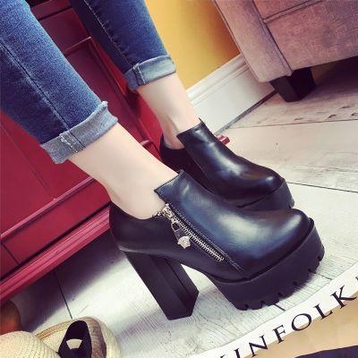 女鞋春春鞋工作鞋女圆头高跟鞋新款鞋单鞋坡跟女春季中跟松糕鞋深