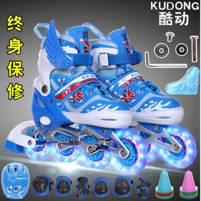 溜冰鞋溜冰鞋男童旱儿童暴走鞋双轮滑踏板车儿童双排鞋滑轮鞋溜男