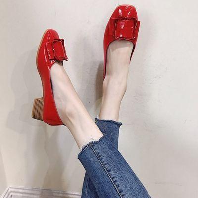 仙女单鞋女chic方扣浅口粗跟温柔鞋方头奶奶鞋