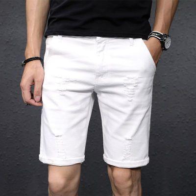 夏季白色破洞牛仔短裤男五分裤韩版宽松弹力5分休闲马裤男士外穿